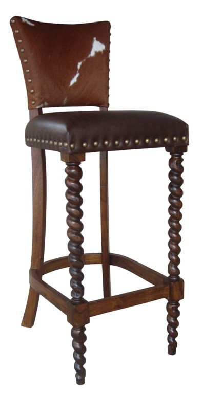 Enjoyable Barley Twist Cowhide Counter Stool 26 Andrewgaddart Wooden Chair Designs For Living Room Andrewgaddartcom