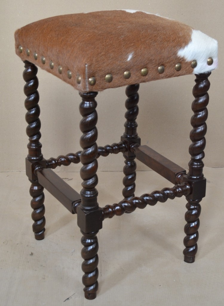 Colton Cowhide Bar Stool Without Back John Proffitt
