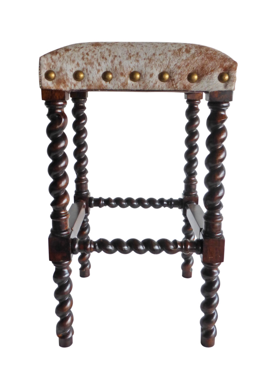 Colton Cowhide Bar Stool Without Back