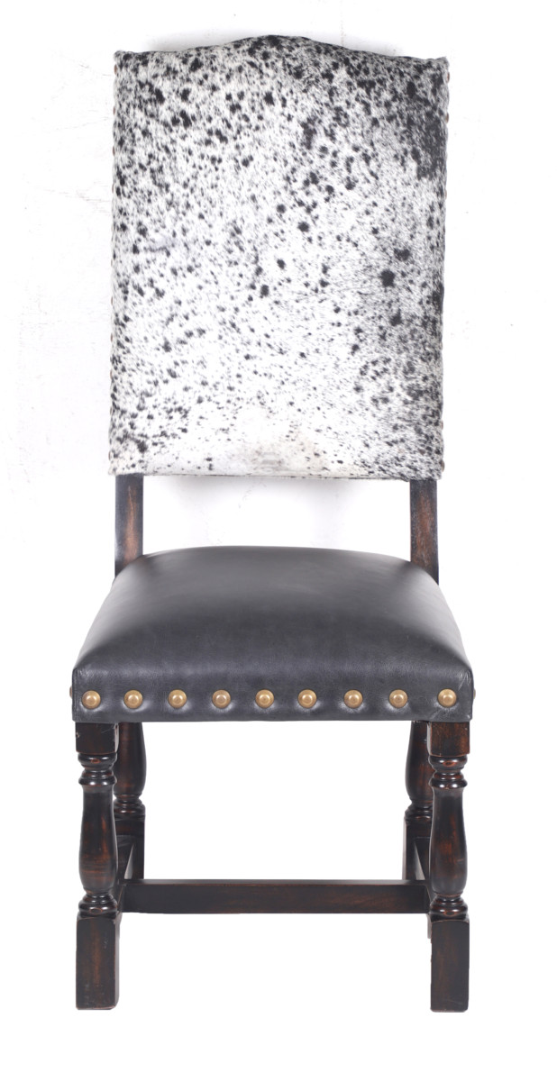 Colton Cowhide Dining Chair Black Salt Pepper John Proffitt